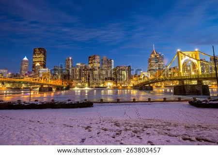 Steel bridge and downtown Pittsburgh USA - stock photo