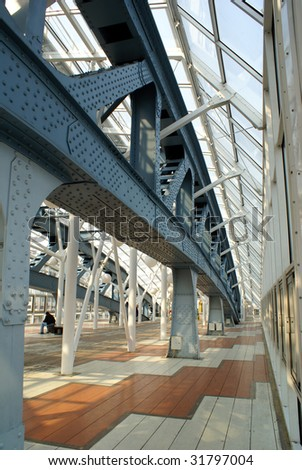 Steel bridge in Moscow, Russia - stock photo
