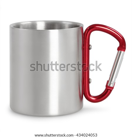 Steel camping mug with red carabiner handle isolated on white background - stock photo