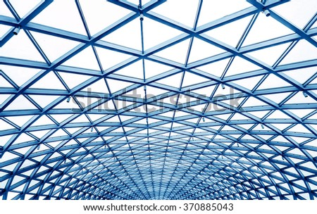 Steel ceilings, modern building interior. - stock photo