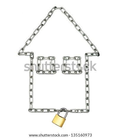 Steel chain in the shape of a house locked with a padlock - stock photo