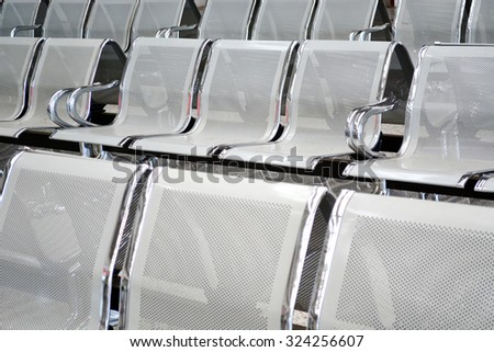 steel chair for waiting room - stock photo
