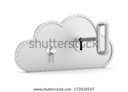 Steel cloud and safe lock - stock photo