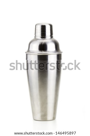 steel cocktail mixer in a white background - stock photo