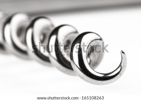 steel  corkscrew isolated on a white background.  Studio photo - stock photo