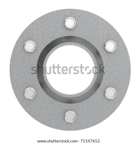 Steel cover with 6 bolts - stock photo