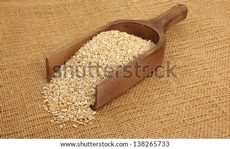 Steel Cut Oatmeal In Scoop On A Burlap Bag - stock photo