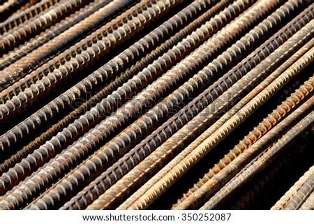 Steel deformed bars for concreting reinforcement. - stock photo
