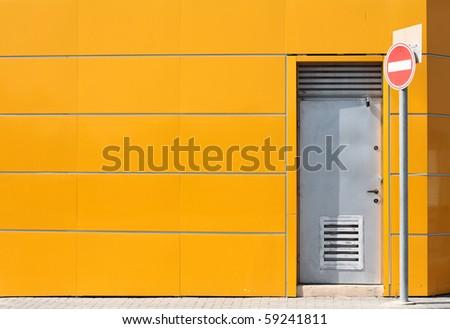 steel door - stock photo