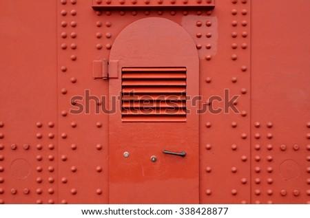 steel door on Golden Gate Bridge tower - stock photo