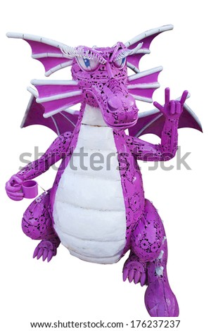 Steel Dragon white background - stock photo