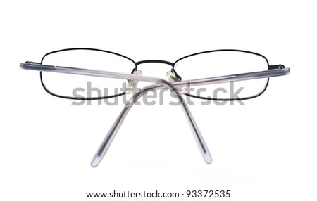 steel eyeglasses isolated on a white background - stock photo