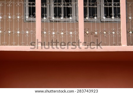 Steel fence on building - stock photo