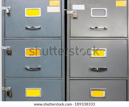 Steel filing cabinet for privacy data in the office. - stock photo