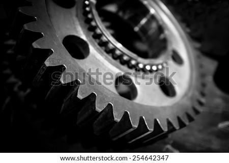 steel gear wheels tools - stock photo