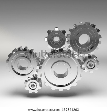 Steel gear wheels - tools and settings icon - stock photo
