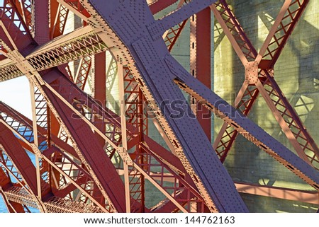 Steel Girders Under a Bridge - stock photo
