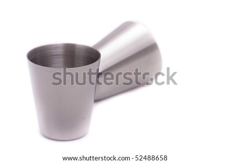 Steel glass on a white background - stock photo