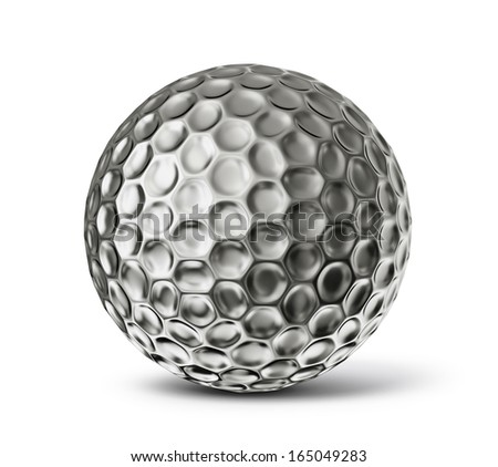 steel golf ball isolated on a white background - stock photo