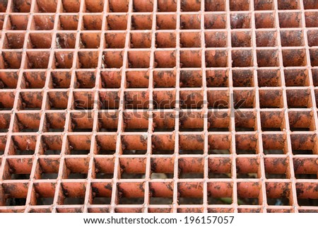 Steel grating drain cover - stock photo