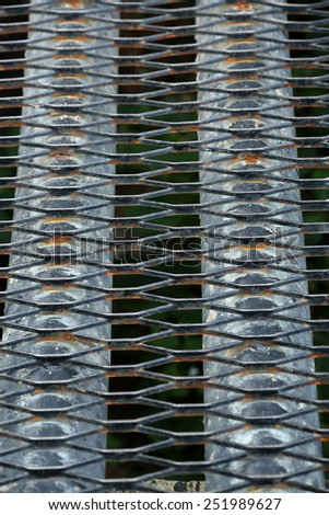 Steel grating of Drain cover. - stock photo