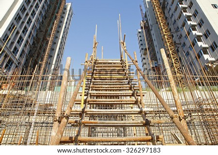 Steel grid on the construction site - stock photo