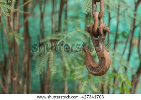 Steel hooks metal products factory warehouse. - stock photo