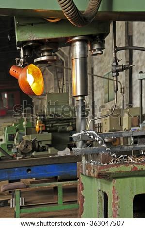 Steel lathe machinery and equipment  - stock photo
