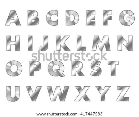 steel letters metal font - stock photo