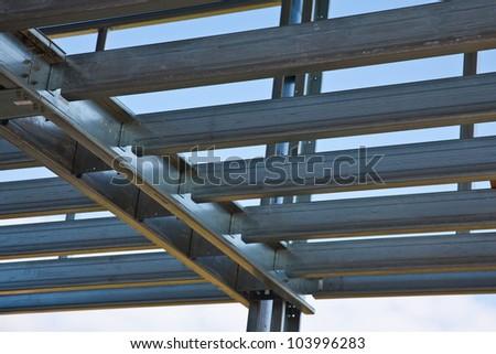 Steel load bearing structure of mezzanine - stock photo