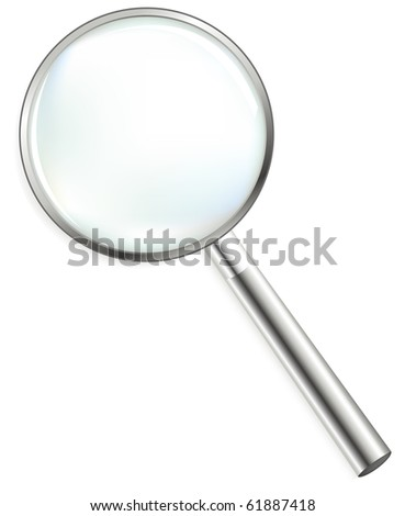 Steel Magnifier, Isolated On White - stock photo