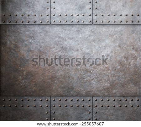 steel metal armor background with rivets  - stock photo