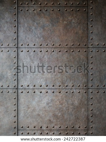 steel metal armour background with rivets - stock photo
