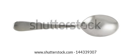 Steel metal table knife spoon over white background - stock photo