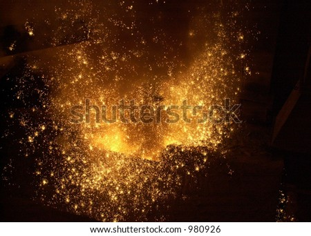 Steel mill sparks. - stock photo