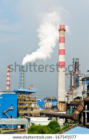 Steel mills environmental pollution - stock photo