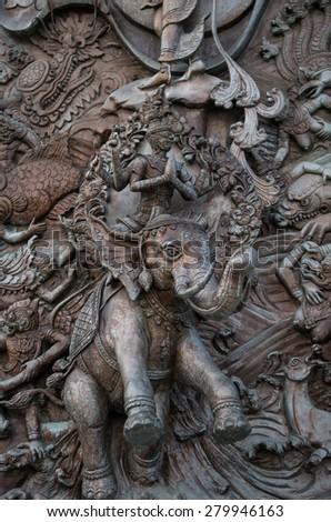 steel mural of Wat Traimit, Bangkok, Thailand,public domain - stock photo