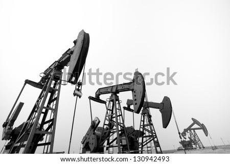 Steel oil mining machine - stock photo