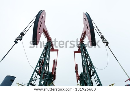 Steel oil pumps - stock photo