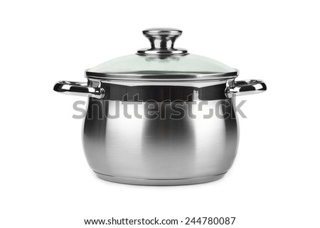 Steel pan isolated on white background - stock photo