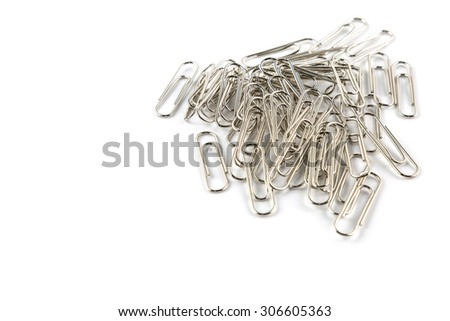 steel paper clip on white background - stock photo