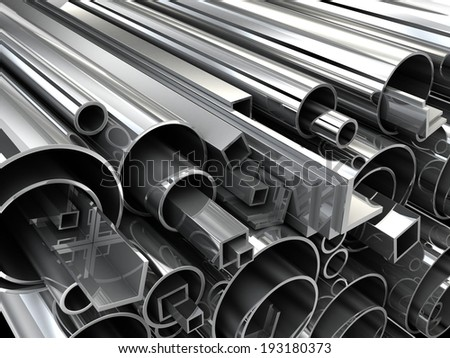 Steel Pipe, metal-roll (done in 3d) - stock photo