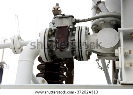 Steel pipelines and valves : Components of the transformer and shunt reactor - stock photo