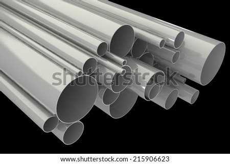 Steel pipes. isolated on black background. 3d illustration  - stock photo