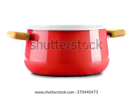 Steel pot isolated on white background. - stock photo