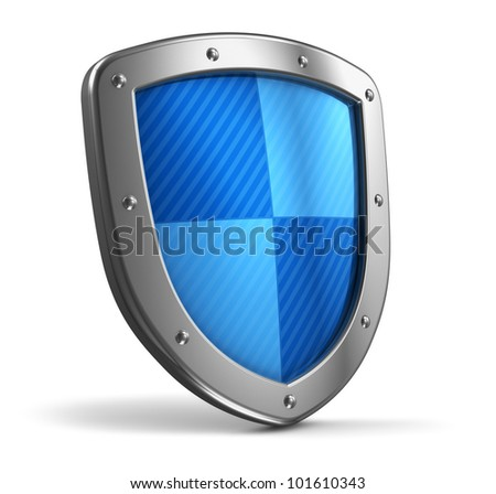 Steel protection shield isolated on white background - stock photo