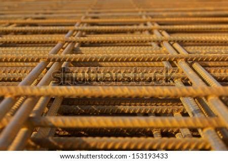 steel rebar for reinforced concrete - stock photo