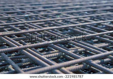 steel rebar in a construction site  - stock photo