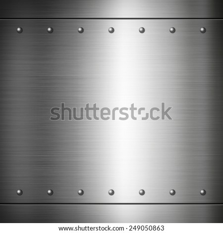 Steel riveted brushed plate background texture. Metal frame background - stock photo