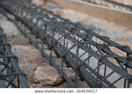 Steel rod for pole construction - stock photo